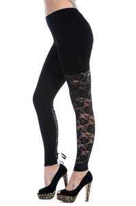 Banned Clothing - Black Lace Leggings - Egg n Chips London