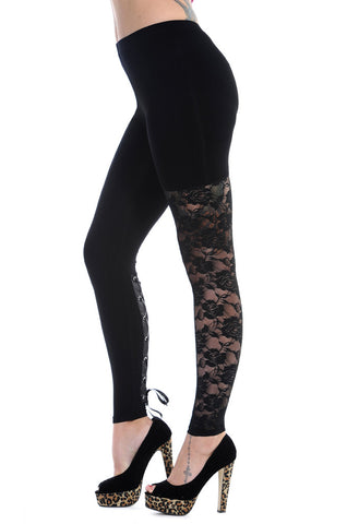 Banned Clothing - Black Lace Leggings