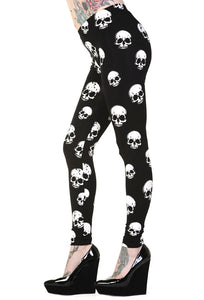 Banned Clothing - White Skulls Leggings - Egg n Chips London