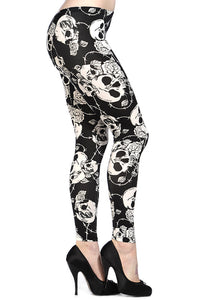 Banned Clothing - Skull Rose White Leggings - Egg n Chips London