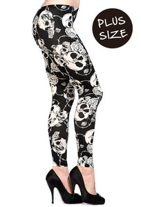 Banned Clothing - Skull Roses Plus Size Black White Leggings - Egg n Chips London