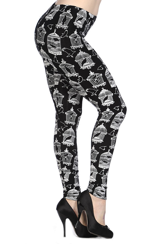 Banned Clothing - Birds And Cage Black Leggings - Egg n Chips London