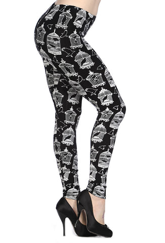 Banned Clothing - Birds And Cage Black Leggings