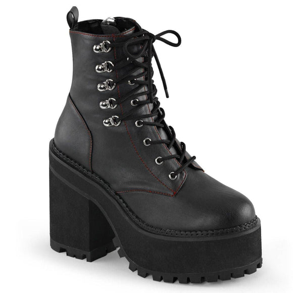 Demonia - Lace-Up D-Ring Ankle Boot Heel