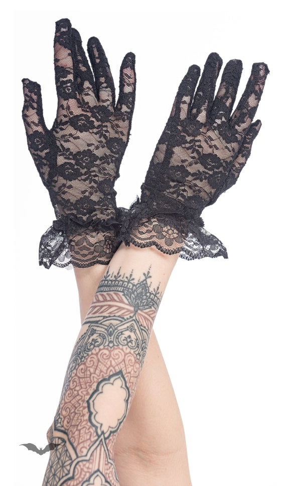 Queen of Darkness - Lace gloves with ruffles
