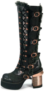 Hades Shoes - Langdon Black Steampunk Boots - Egg n Chips London