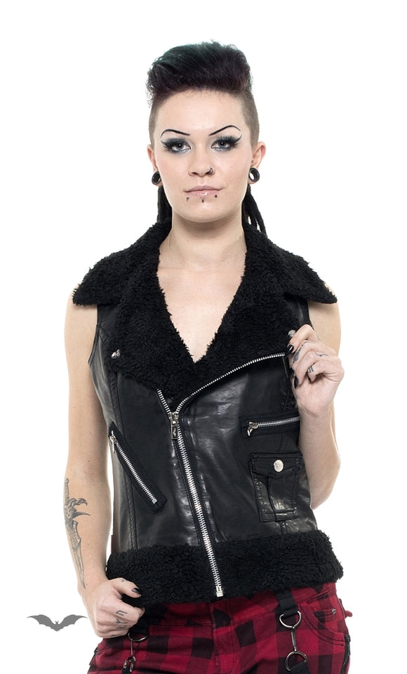 Queen of Darkness - Leather Vest with Furry Collar