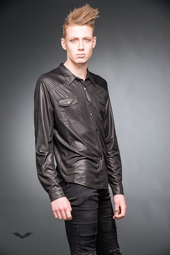 Queen of Darkness - Leather-look shirt with chest pockets