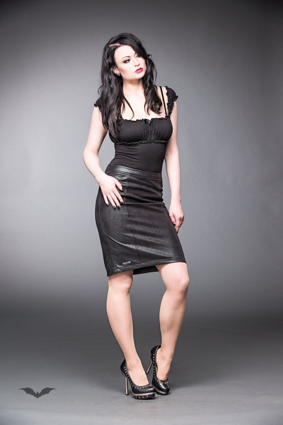 Queen of Darkness - Leather-look skirt with zipper