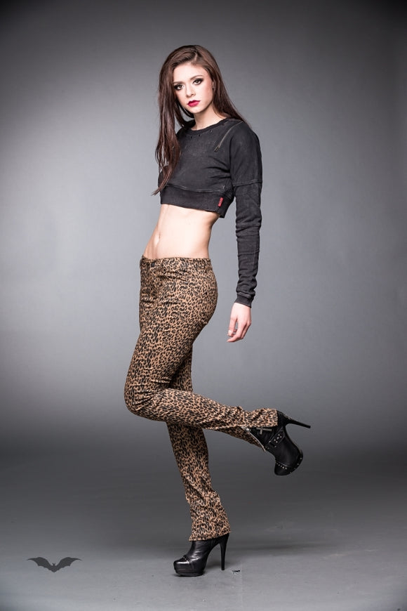 Queen of Darkness - Leopard Jeans with Side Zipper