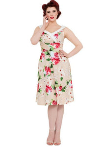 Voodoo Vixen - Lillian Pink Spring Flowers Sleeveless Dress - Egg n Chips London