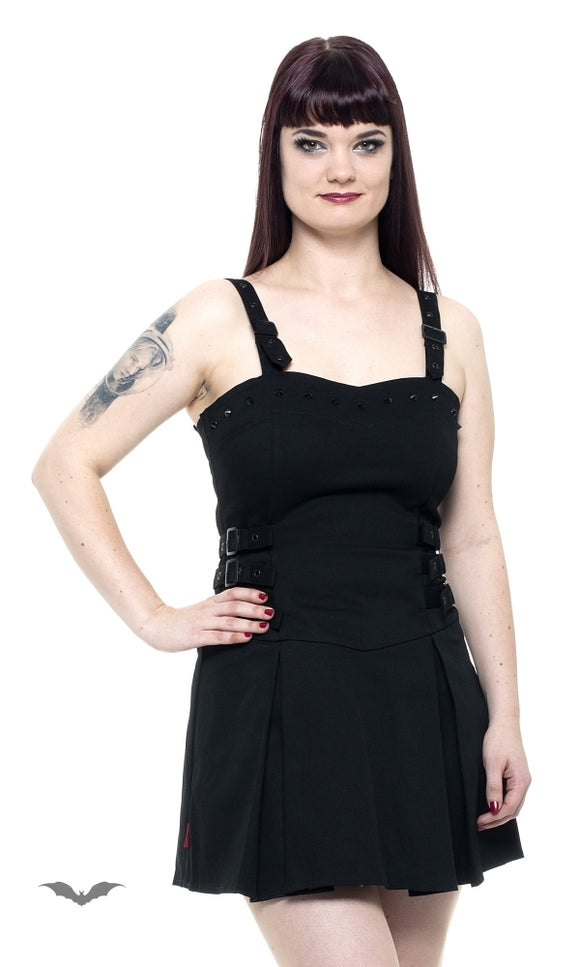 Queen of Darkness - Little black dress with studs and buckle