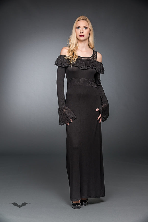Queen of Darkness - Long Dress With A Ruffled Neckline