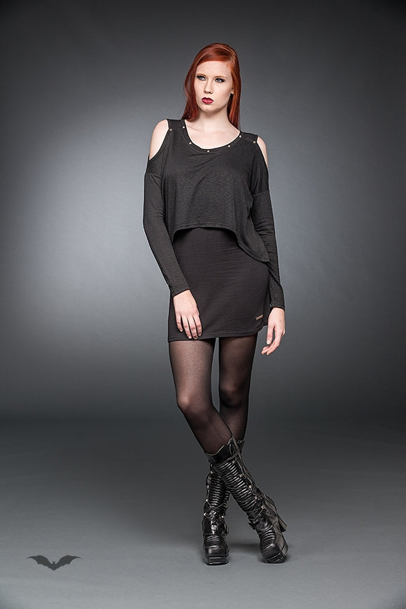 Queen of Darkness - Long Sleeve Short Dress With Cut-Out Sho