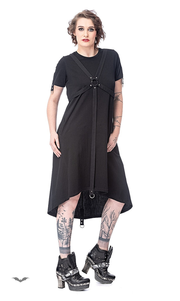 Queen of Darkness - Long dress with rings and bondage