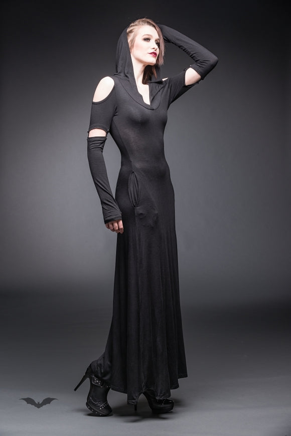 Queen of Darkness - Long hooded Dress with cut out Shoulders