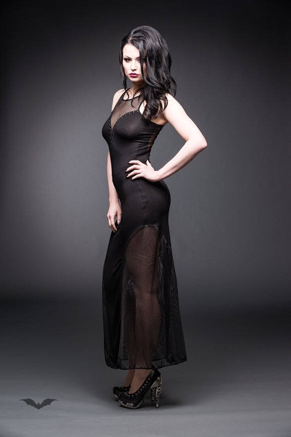Queen of Darkness - Long net dress with plunging neckline