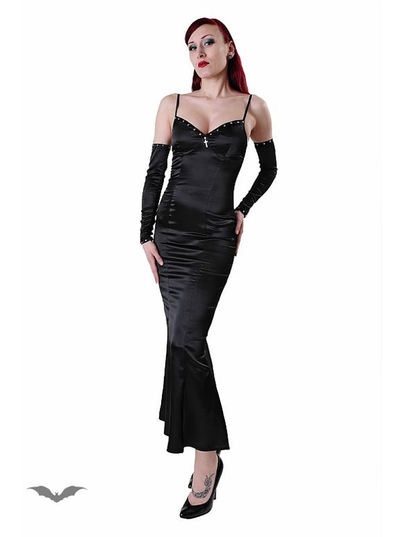 Queen of Darkness - Long satin dress with detached arms