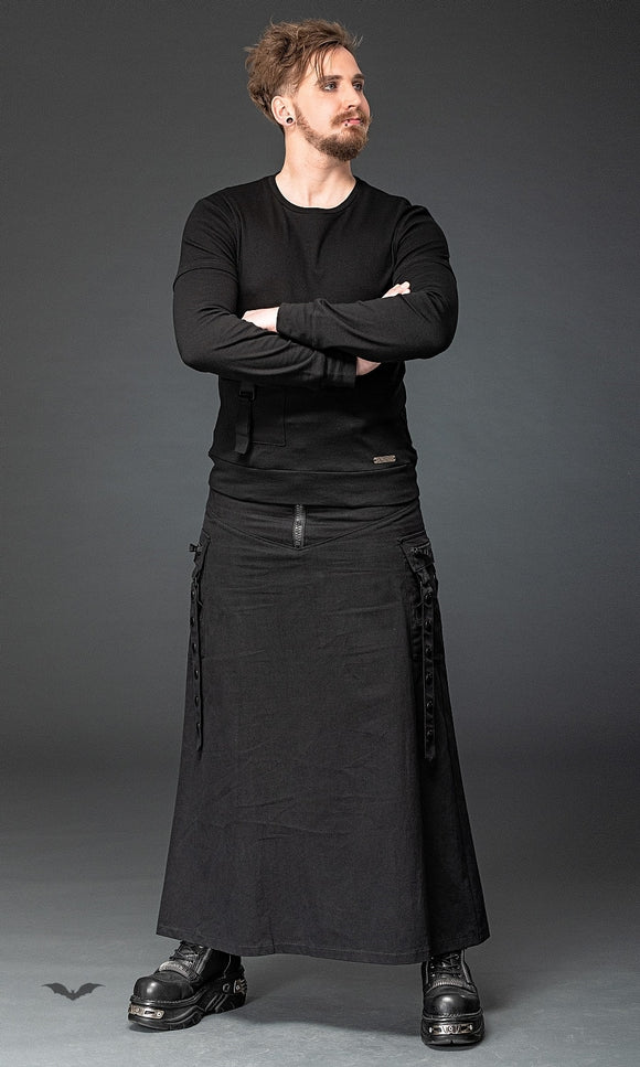 Queen of Darkness - Long skirt with black applications and p