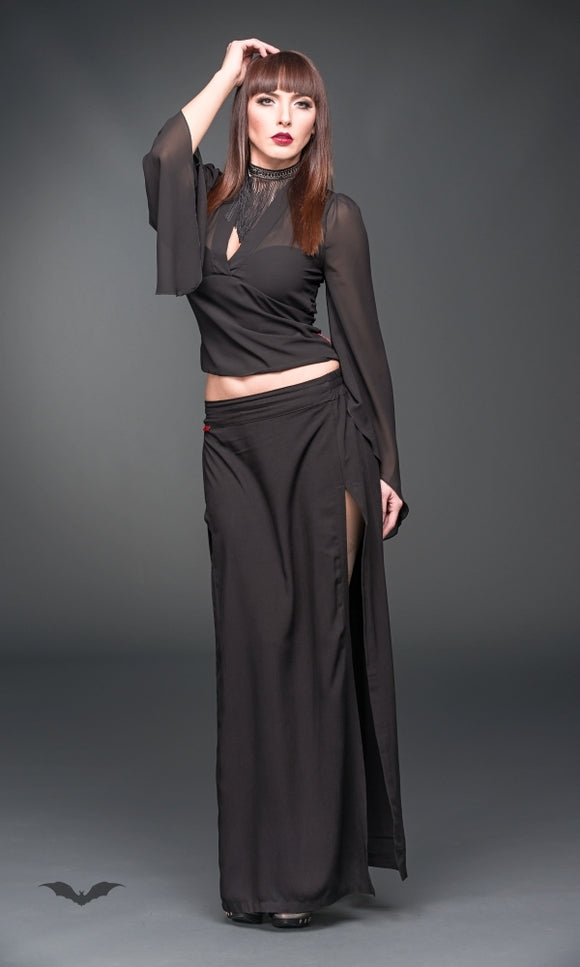 Queen of Darkness - Maxi skirt with slit opening