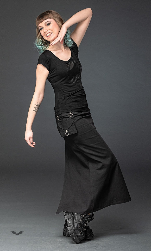 Queen of Darkness - Long skirt with removable pocket, slit a