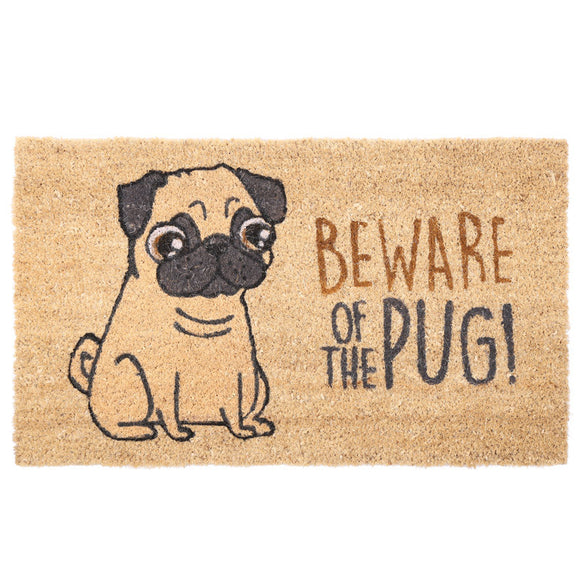 Egg n Chips London - Coir Door Mat - Beware of the Pug - Egg n Chips London