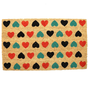 Egg n Chips London - Coir Door Mat - Polka Heart Design - Egg n Chips London