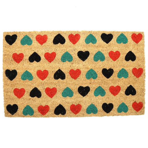 Egg n Chips London - Coir Door Mat - Polka Heart Design