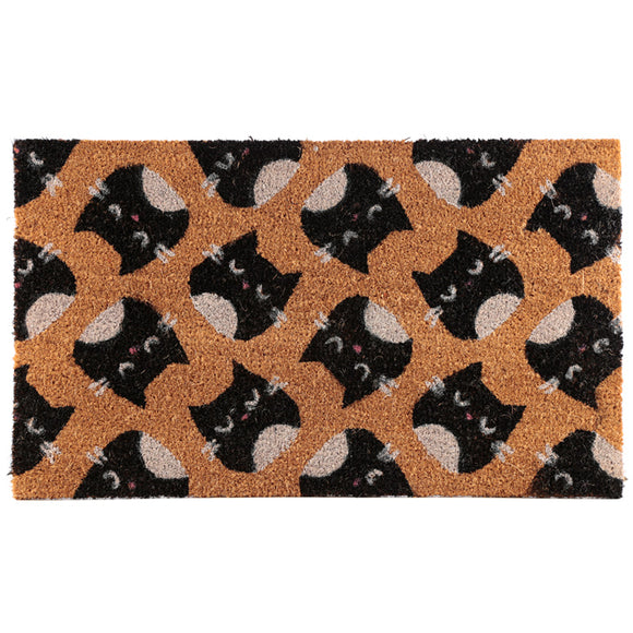 Coir Door Mat - Feline Fine Cat Design MAT47