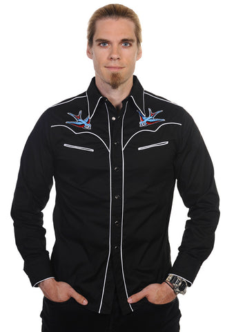 Banned Clothing - Swallows White Trim Shirt