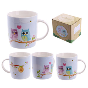 Egg n Chips London - Cute New Bone China Love Owls Design Mug - Egg n Chips London