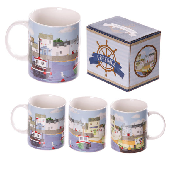 Egg n Chips London - New Bone China Summer Harbour Design Mug - Egg n Chips London