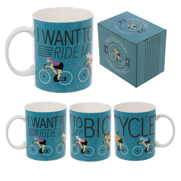 Egg n Chips London - Fun Bone China Cycling Mug - Egg n Chips London
