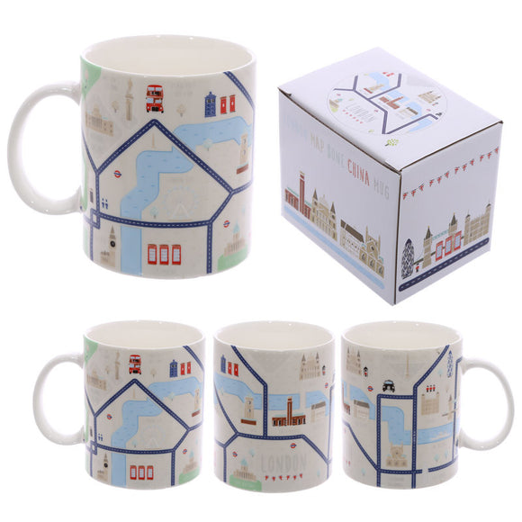 Egg n Chips London - Fun New Bone China Mug - London Map Design - Egg n Chips London