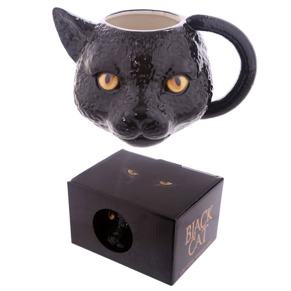 Egg n Chips London - Novelty Black Cat Head Shaped Mug - Egg n Chips London