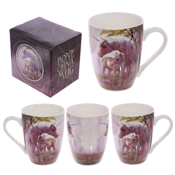 Egg n Chips London - Fun Fantasy Unicorn Design New Bone China Purple Mug - Egg n Chips London