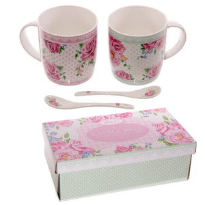 Egg n Chips London - Chintz Design New Bone China Mug Set for 2 with Spoons - Egg n Chips London