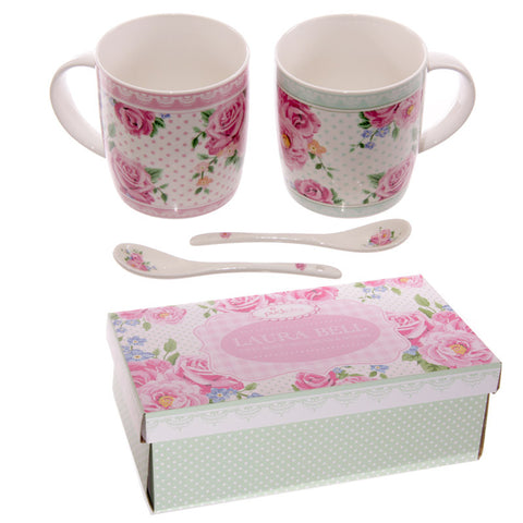 Egg n Chips London - Chintz Design New Bone China Mug Set for 2 with Spoons