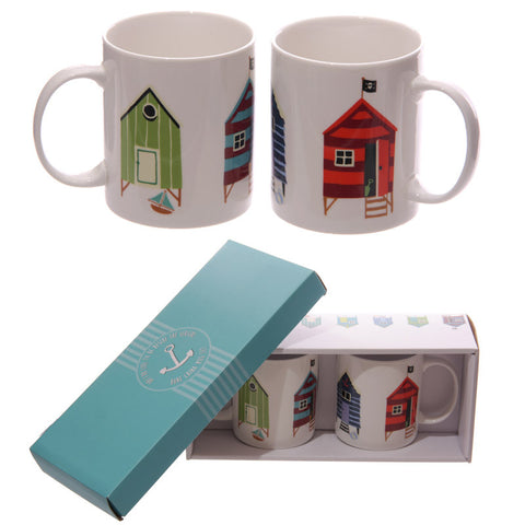 Egg n Chips London - Beach Hut Design New Bone China Set of 2 Mugs