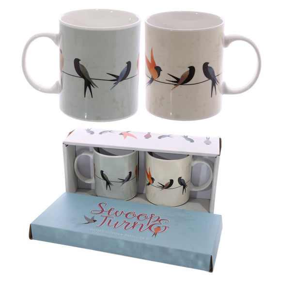 Egg n Chips London - Swallows Design New Bone China Set of 2 Mugs - Egg n Chips London