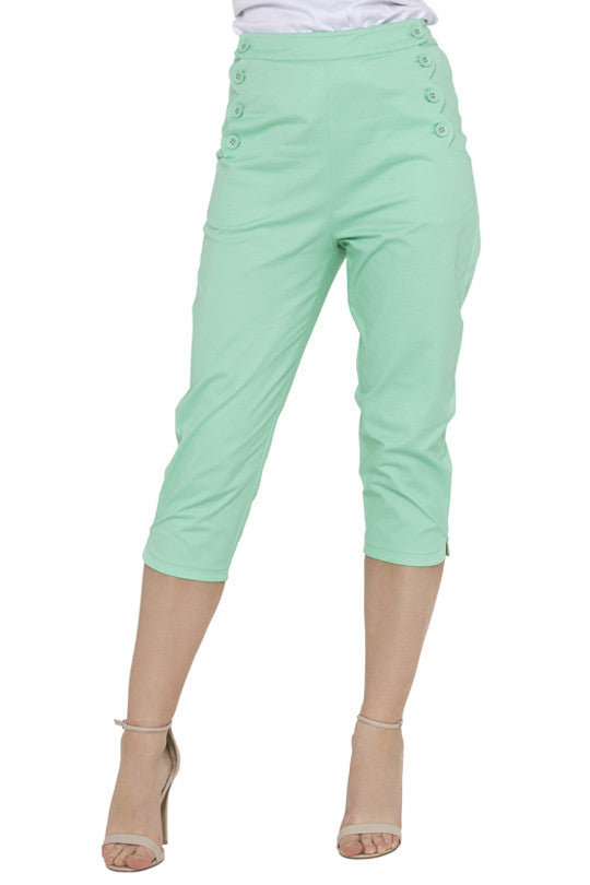 Voodoo Vixen - Mint Becky Summer Capri Pants - Egg n Chips London