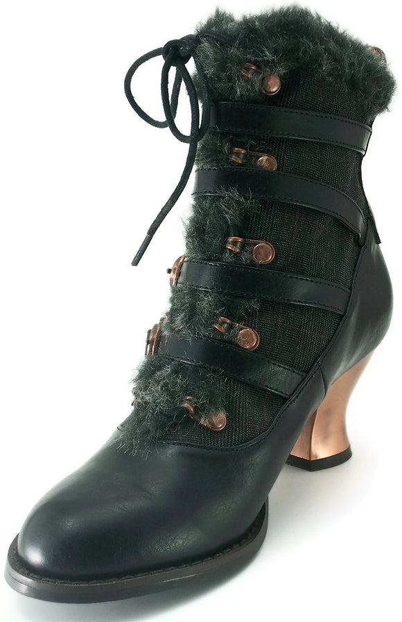 Hades Shoes - Black Nephele Victorian Ankle Boots - Egg n Chips London