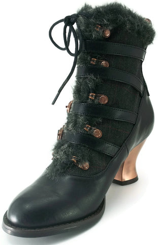 Hades Shoes - Black Nephele Victorian Ankle Boots
