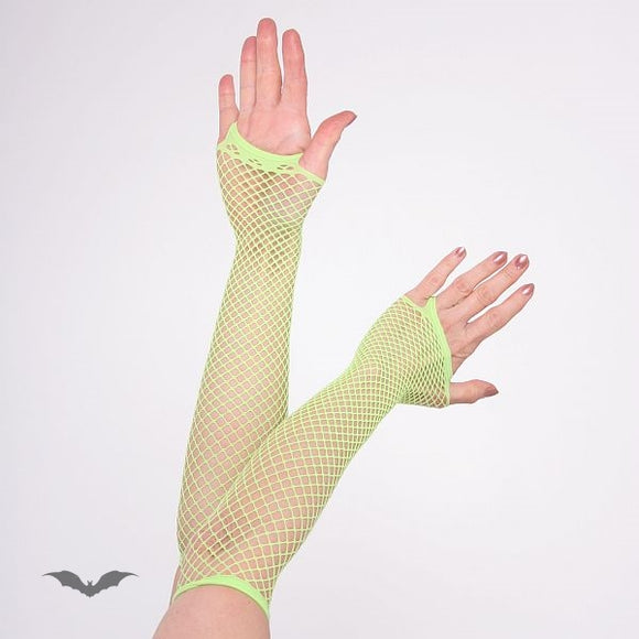 Queen of Darkness - Net Gloves long green