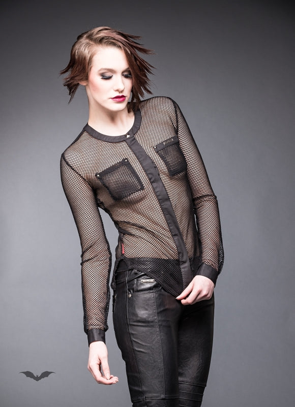Queen of Darkness - Net blouse with chest pockets