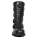 New Rock - Black Crust Flat Goth Inspired Boots UK 4