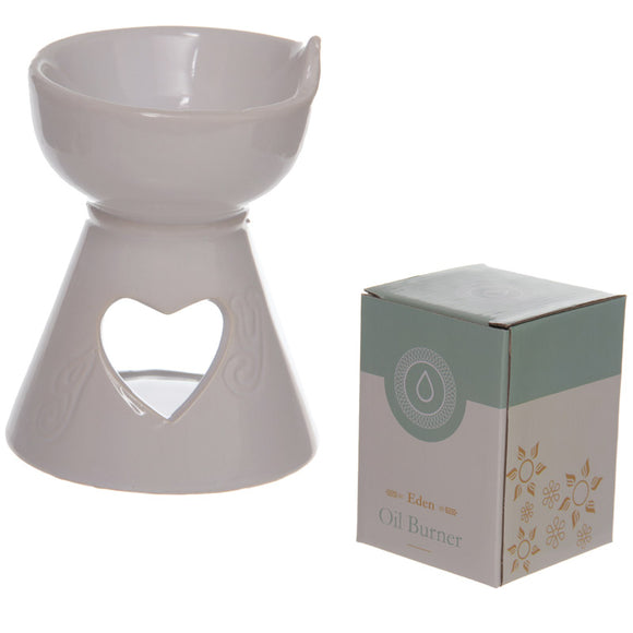 Simple White Heart Cut Out Ceramic Oil Burner OB136