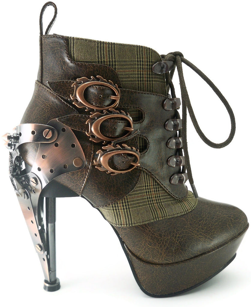 Hades Shoes - Brown Oxford Stiletto Platforms