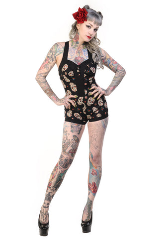 Banned Clothing - Sugar Skulls Playsuit