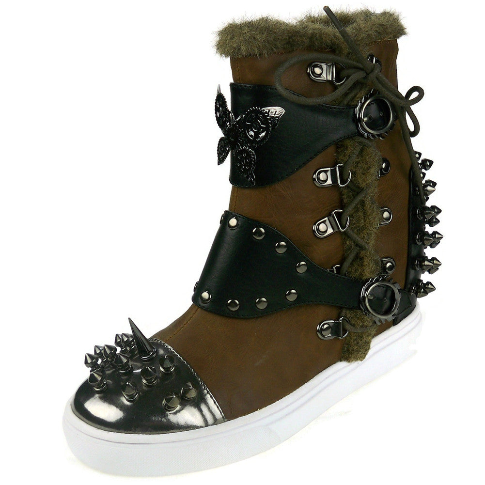 Hades Shoes - Phelan Brown High Top Steampunk Sneakers